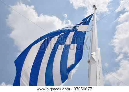 Greece Flag On Acropolis