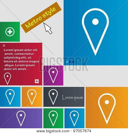 Map Poiner Icon Sign. Buttons. Modern Interface Website Buttons With Cursor Pointer. Vector