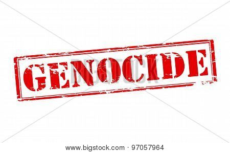 Rubber stamp with word genocide inside vector illustration