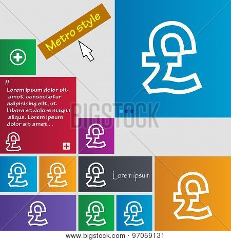 Pound Sterling Icon Sign. Buttons. Modern Interface Website Buttons With Cursor Pointer. Vector