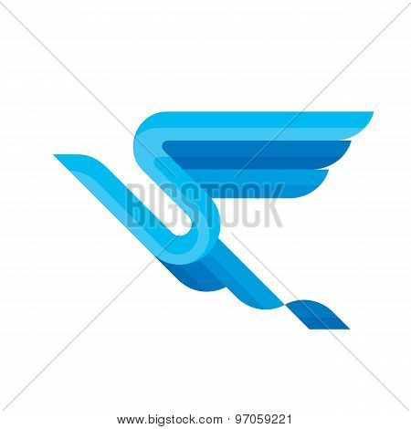 Bird - vector sign concept illustration. Bird from blue stripes. Design element.