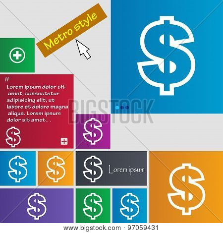 Dollar Icon Sign. Buttons. Modern Interface Website Buttons With Cursor Pointer. Vector