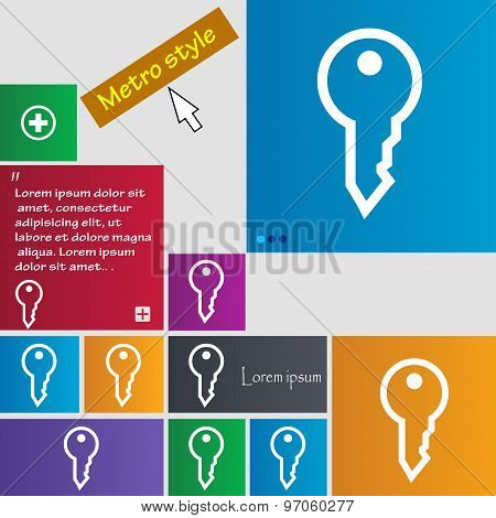 Key Icon Sign. Buttons. Modern Interface Website Buttons With Cursor Pointer. Vector