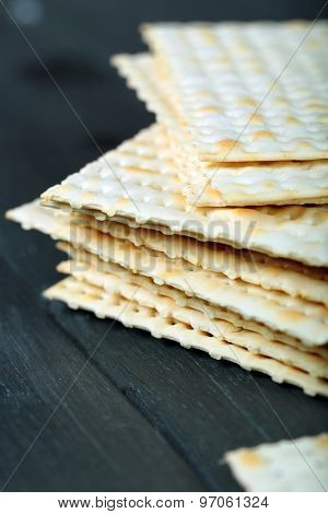 Matzo for Passover on table  close up