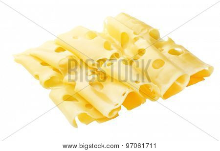 Slices of cheese isolated on white
