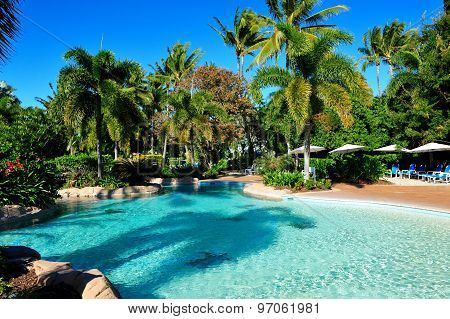 Very beautiful tropical resort with swimming pool at Daydream Island