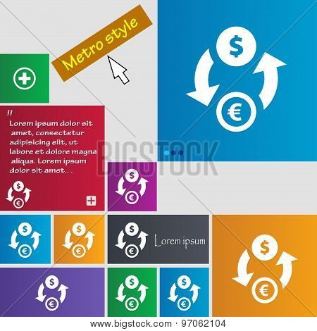 Currency Exchange Icon Sign. Buttons. Modern Interface Website Buttons With Cursor Pointer. Vector