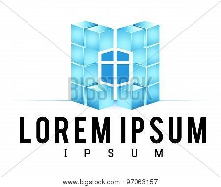 Logo template, construction service or church logo