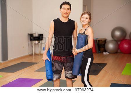 Cute Couple Ready For Yoga