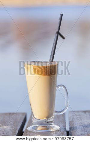 Iced coffee on table
