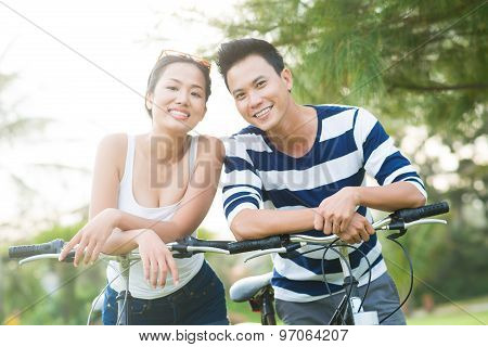 Asian Couple With Bicycles