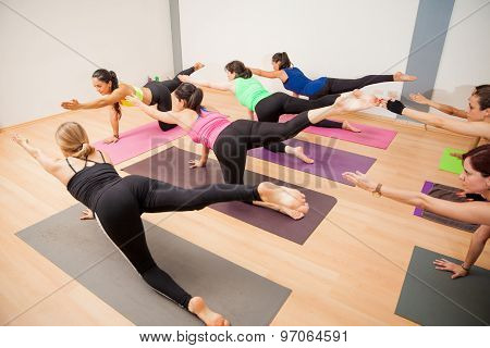Group Of Latin Women In Yoga Class