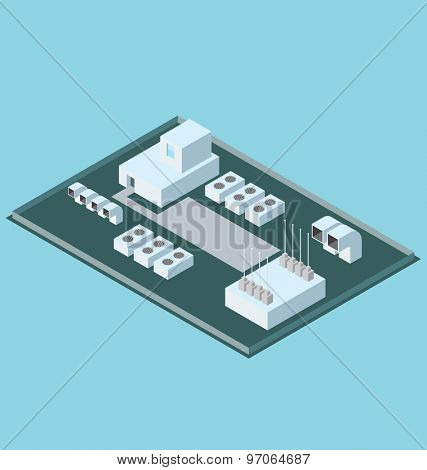 Vector 3d flat isometric office building roof with air conditioner