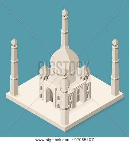 Vector 3d flat isometric Taj Mahal on blue