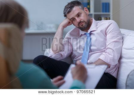 Despair Businessman During Psychotherapy