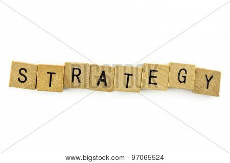 Strategy Text On Wooden Cubes, Isolated On White Background