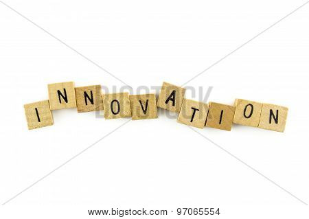 Innovation Text On Wooden Cubes, Isolated On White Background
