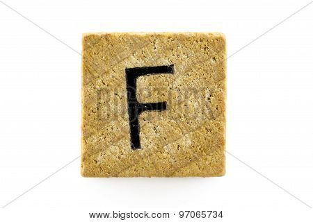 Wooden Alphabet Blocks With Letters F