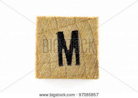 Wooden Alphabet Blocks With Letters M