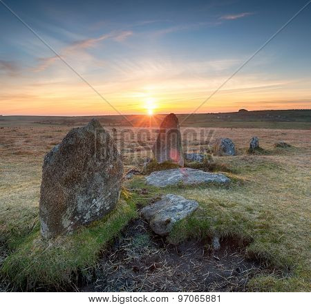 Stannon Stone Circle In Cornwall