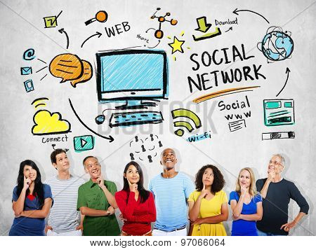 Social Network Social Media Diversity People Thinking Concept