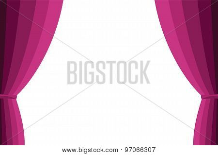 Pink Curtain Opened On A White Background.
