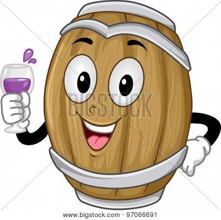 Background Illustration of a Wine Barrel Holding a Glass of Wine