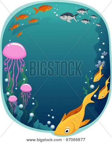 Frame Illustration of a Colorful Underwater Scene