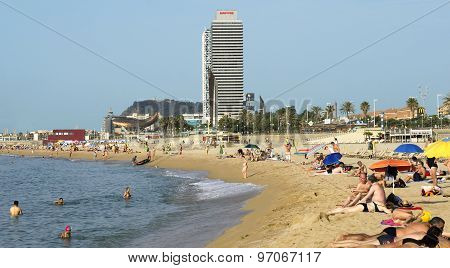 Barceloneta Beach And Skyscraper Torre Mapfre