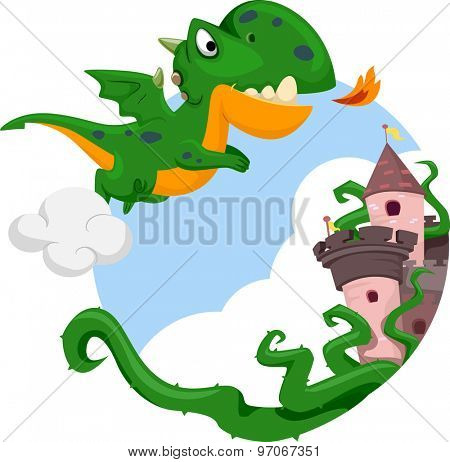 Illustration of a Cute Dragon Hovering Above a Castle