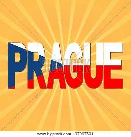 Prague flag text with sunburst illustration