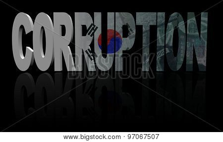 Corruption text with South Korea flag and currency illustration