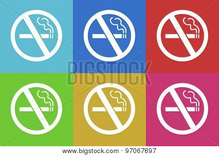 no smoking flat design modern vector icons set for web and mobile app