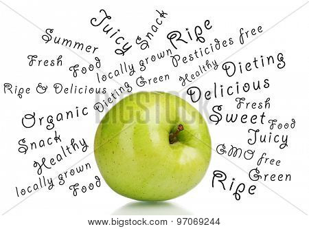 Fresh green apple and words around isolated on white
