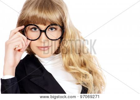 Close-up portrait of a pretty teenager girl in big round glasses. Optics. Beauty, fashion. Education. Isolated over white.