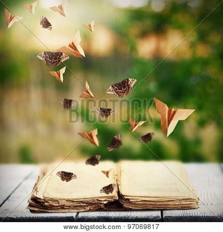 Open book on wooden table and butterflies on natural background