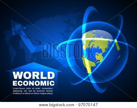 World economic and global map line bubble light  vector background