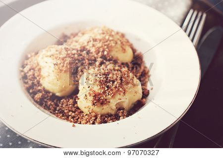 Sweet Cottage Cheese Dumplings With Breadcrumbs