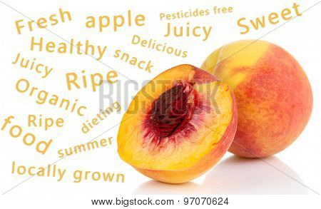 Fresh peach and words around isolated on white
