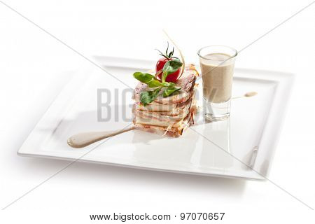 Bacon Wrapped Pate with Bread Toast and Mushrooms Sauce