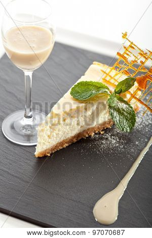 Dessert - Cheesecake with Vanilla Sauce