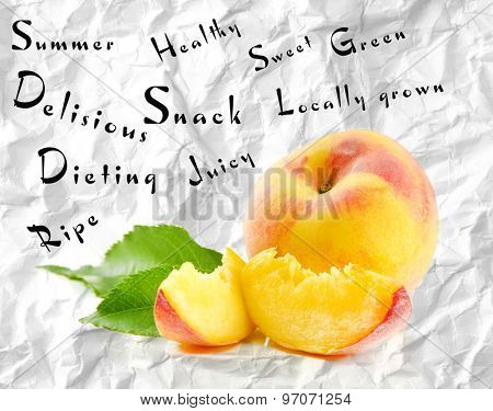 Fresh peach and words around on grey background