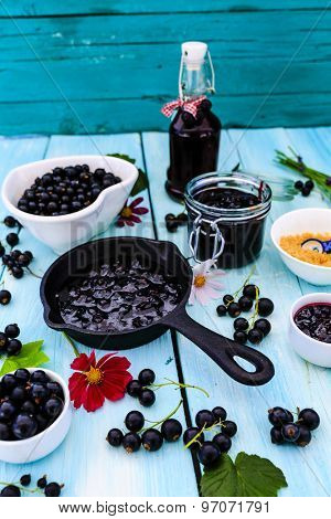 Blackcurrant - fresh blackcurrant fruit and a variety of sweet dishes