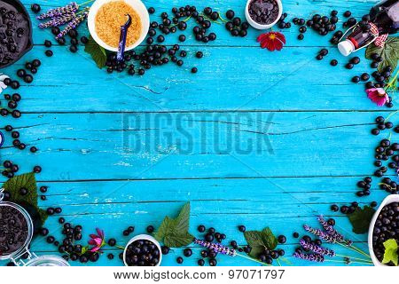 Blackcurrant - fresh blackcurrant fruit and a variety of sweet dishes, frame