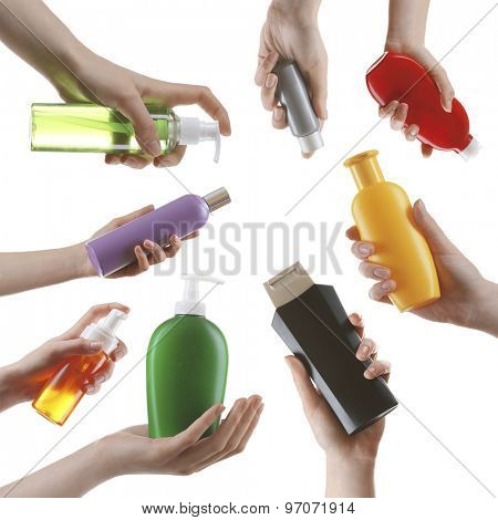 Different kinds of cosmetics in hands isolated on white in collage