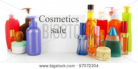 Cosmetics for sale, isolated on white