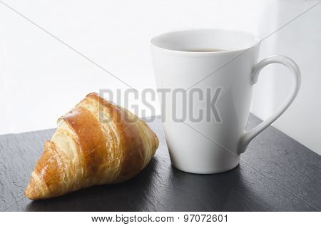 Breakfast Cup Of Coffee And Croissant, Horizontal.