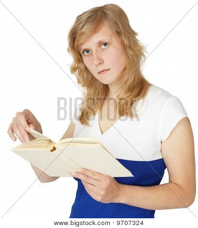 Girl Reads Book Isolated On White
