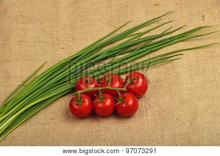 Bunch Of Cherry Tomato And Spring Onion Shots At Canvas