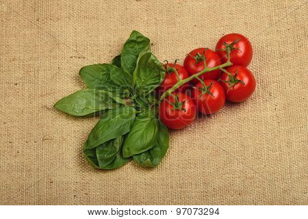 Bunch Of Cherry Tomato And Basil Leaves At Canvas